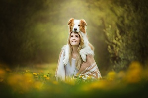 Cute Girl With Dog Wallpaper