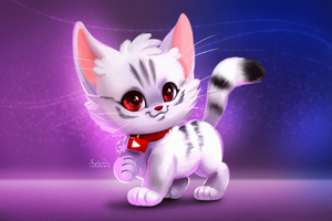 Cute Kitty Digital Art Wallpaper