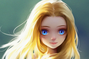Cute Little Blonde Girl Blue Eyes Digital Art Wallpaper