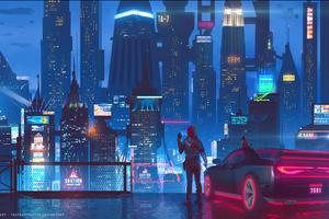 Cybeprunk City Science Fiction Car Ride Night Glow