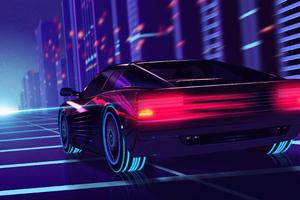 Cyber Car Neon City Wallpaper