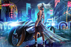 Cyber City Girl Bike Wallpaper