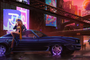 Cyber City Girl With Car Wallpaper
