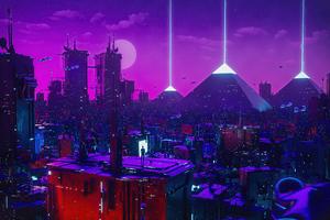 Cyber City Neon Lights 5k Wallpaper
