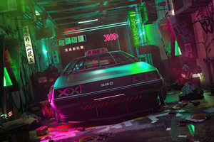 Cyber DeLorean 4k Wallpaper