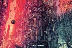 Cyber Futuristic City Fantasy Art 4k