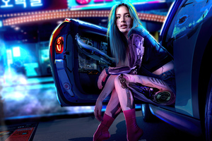 Cyber Girl Coming Out Of Car 5k Wallpaper