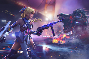 Cyber Girl Garena Free Fire Game 4k