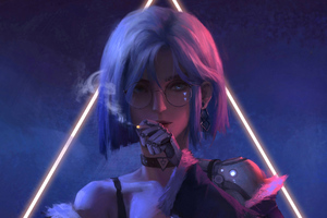 Cyber Girl Glasses Smoking 4k