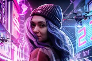 Cyber Girl Hat Winter 4k