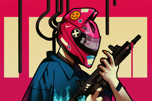 Cyber Girl Helmet With Gun 5k