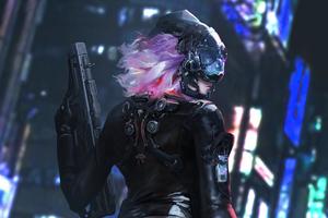 Cyber Girl Latex Suit With Gun 4k Wallpaper