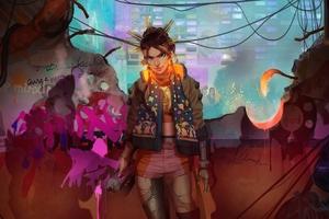 Cyber Girl Painter Wallpaper