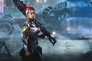 Cyber Girl With Big Gun