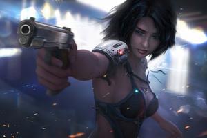 Cyber Girl With Gun 4k