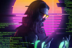 Cyber Guy Retrowave 5k Wallpaper