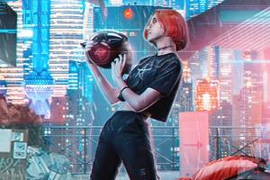Cyber Helmet Girl 4k Wallpaper