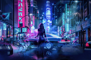 Cyber Japan Neon Lights Girl With Gun 4k Wallpaper