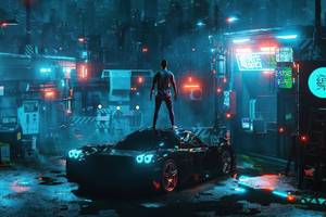 Cyber Night Boy Standing On Car 4k Wallpaper