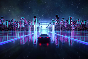 Cyber Outrun Vaporwave Synth Retro Car 4k