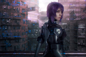 Cyber Purple Hair Girl Wallpaper