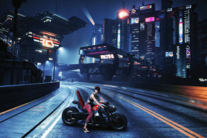 Cyberpunk 2077 Bike Scifi Girl 4k Wallpaper
