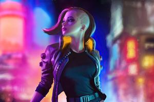 Cyberpunk 2077 Girl In City 4k Wallpaper