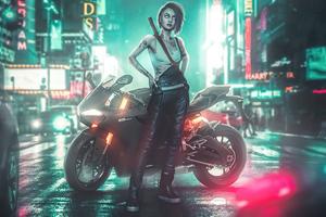 Cyberpunk 2077 Night City Girl 5k Wallpaper