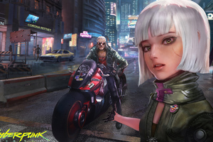 Cyberpunk 2077 Selfie Girl With Biker 4k Wallpaper