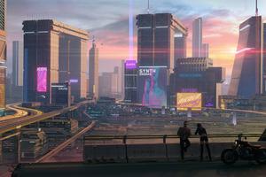 Cyberpunk 2077 Sunset Over Night City
