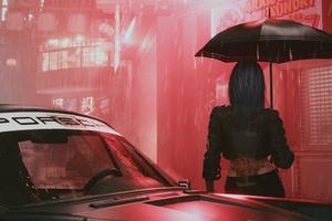 Cyberpunk 2077 Umbrella Girl Wallpaper