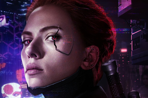 CYBERPUNK 2077 X AVENGERS BLACK WIDOW Wallpaper