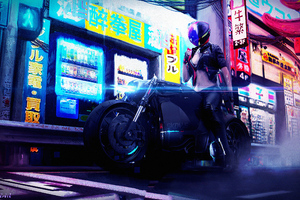 Cyberpunk Bike Girl 4k
