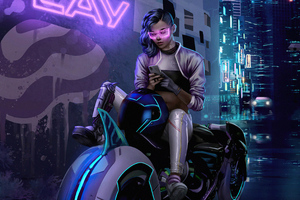 Cyberpunk Bike Girl Texting Phone 4k Wallpaper