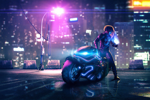 Cyberpunk Bike Street Light Wallpaper