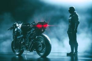 Cyberpunk Bike With Man 4k Wallpaper