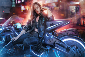 Cyberpunk Biker Girl Art Wallpaper