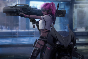 Cyberpunk Biker Girl Wallpaper