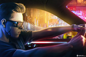 Cyberpunk Boy Car Rider 4k Wallpaper