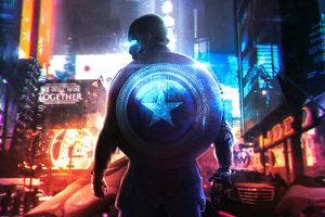 Cyberpunk Captain America Wallpaper