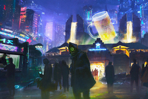 Cyberpunk City Beer Hall 4k