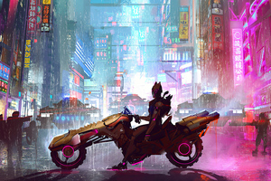 Cyberpunk City Bike 4k Wallpaper