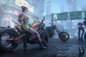 Cyberpunk City Bikes And Girl 4k Wallpaper