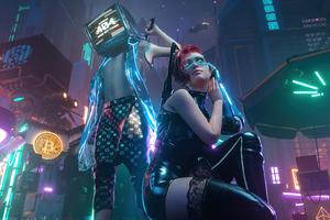 Cyberpunk City Boy And Girl 5k