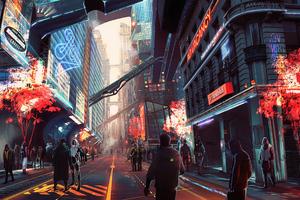 Cyberpunk City Future Digital Art Wallpaper