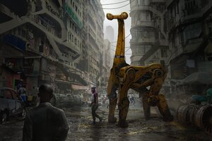 Cyberpunk City Giraffe Artwork