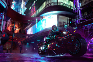 Cyberpunk City Girl With Bike 4k Wallpaper