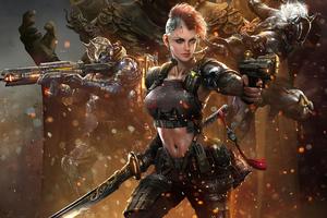 Cyberpunk Futuristic Girl With Gun And Sword 4k Wallpaper