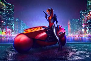 Cyberpunk Girl Bike Artwork 4k