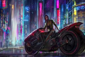 Cyberpunk Girl Biker 4k 2020